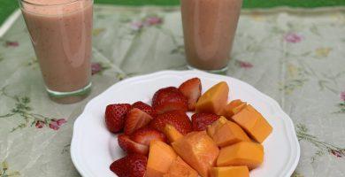 Receta de batido de papaya y fresas
